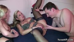 Two German MILFs seduce Step Son with Huge Cock to Fuck