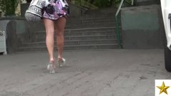 Hot Slutty Russian Milf Wallking In Heels + Upskirt