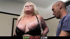 Cheating sex with eager blonde plumper