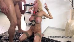 Huge tits blonde officer banged in ropes