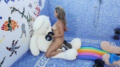 Brazilian MILF in 3some with 2 teddies during fitness workout