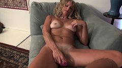 American milf Lauren Demille gives her tanned body a treat