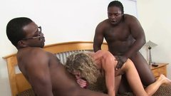 Black men having fun with a milf