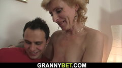 He picks up old blonde woman for play