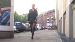 MILF slut out walking in miniskirt and stockings