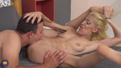 Mature mom fucks young guy like crazy