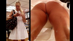 Upskirt - Milf - white dress, white thong
