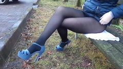 Hot russian MILF lose her skirt outdoor (no skirt, nylon)