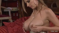 Two monster boobed milfs take care of each others pussy using huge toys
