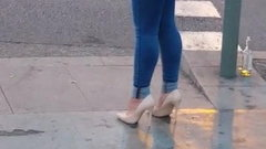 Slut in high heels on the street