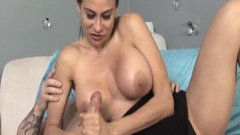 Busty cougar sensually tugging fat cock