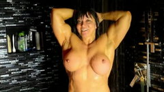 A Muscle Goddess under the shower