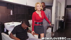 Seductive blonde MILF with big tits double teamed by studs
