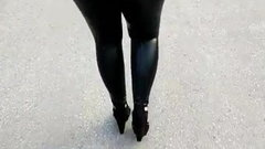 Extremely Tight Black Latex pants, Gorgeous blond!!.