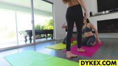 Lesbian yoga babe knows the right positions