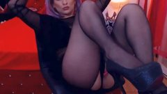 MILF Spreading Her Legs is Black Pantyhose and High Heels