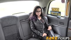 English taxi MILF having a taste of her busty passenger
