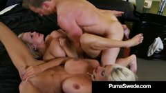 Hot Busty Blonde Puma Swede & Kelly Madison Suck Husband Off