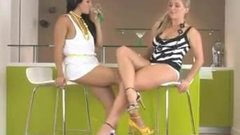 Brunette worships sexy blonde with thick legs in heels