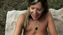 Lovely chick riding big cock outdoors