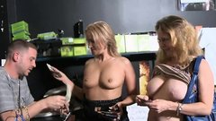 Blonde cougars flashed their nice tits for some money