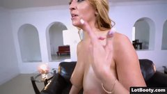 Fat ass blonde MILF in stockings with natural huge tits