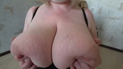 daughter with a strap-on, fucks a milf with huge tits. shaking tits, POV