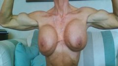 FBB Muscle Milf Stripping Down and Showing off her Huge Tits