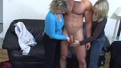 Nude Muscle Guy Jerked Off by Two Milfs