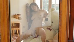 Asian Brazilian mix girl Miyuki in 3some fitness sex with 2 teddy bears