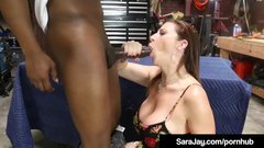 Busty Brunette Milf Sara Jay Bangs & Blows Black Mechanic!