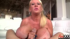 super busty GILF Kayla Kleevage makes him cum