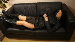 Vaping milf in long leather skirt,kneehigh leather boots and leather jacket