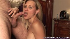 Deep Throating Blonde Housewife Talking Dirty Takes Massive Cum Facial