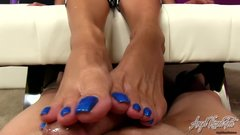 Angel Kissed Feet - Nikki Ashton Gives POV Footjob Gets Jizz On Blue Toes