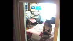 Spy Cam at Home 01: italian wife after the shower and dressed sexy